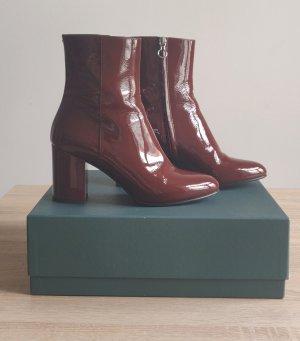 aeyde Zipper Booties dark red-carmine leather