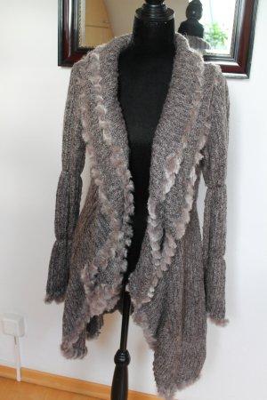 Abrigo de punto violeta grisáceo-gris oscuro Lana