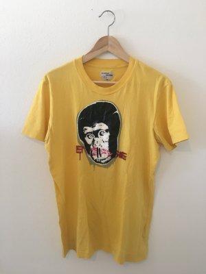 Affe Gorilla street art banksy Energie gelb schwarz rot Shirt Oberteil Top Sommer Halbarm T-Shirt Rundhals m Medium 38 oversize boyfriend weit lässig