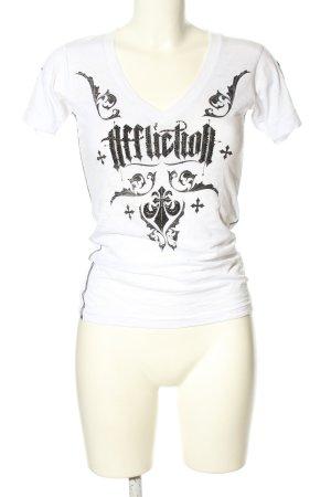 Affliction Camicia fantasia bianco-nero Stampa a tema stile casual