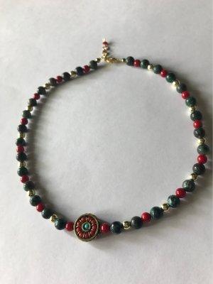 Afrikanischer Türkis  Edelstein  & Korallen Perlen , mit Handgefertigtem Mittelteil