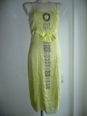 Aftershock London Pinafore dress neon yellow silk