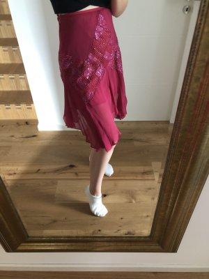Aftershock London Falda de talle alto rojo frambuesa