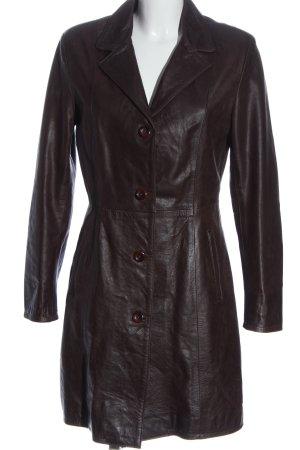 AG Manteau en cuir brun style décontracté