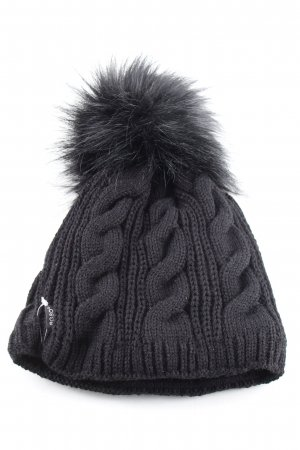 AGBO Chapeau en tricot noir torsades style décontracté