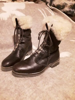 Aigle Fur Boots bronze-colored leather