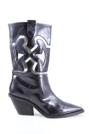 AGL Stivale con tacco nero-argento stile casual