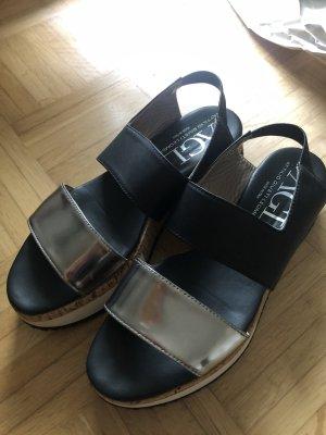 AGL Platform Sandals black-silver-colored