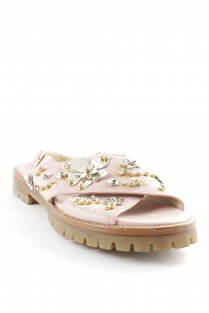 AGL Strapped Sandals pink-silver-colored Rhinestone ornaments