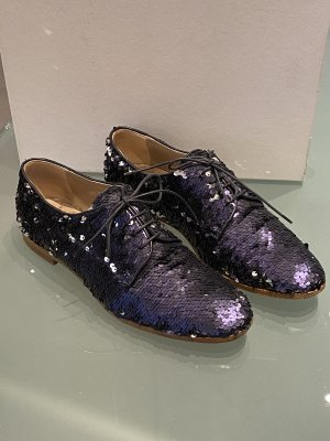 AGL Lace Shoes dark blue-silver-colored