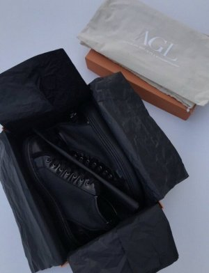 AGL High Top Sneaker black fur