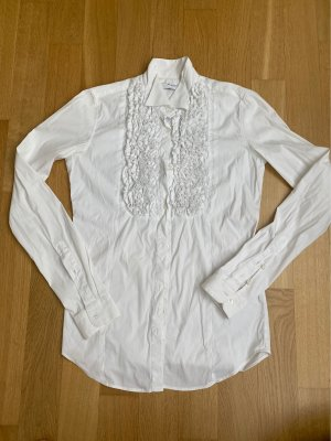 Aglini Stand-Up Collar Blouse white