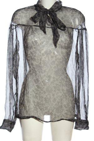 Aglini Hemdblouse lichtgrijs-zwart volledige print elegant