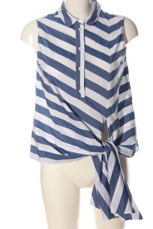 Aglini Shirt Blouse blue-white striped pattern business style