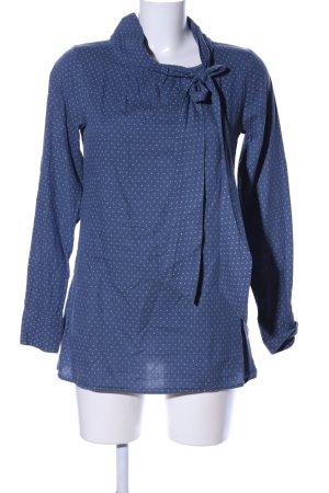 Aglini Blusa de manga larga azul-blanco estampado a lunares look casual