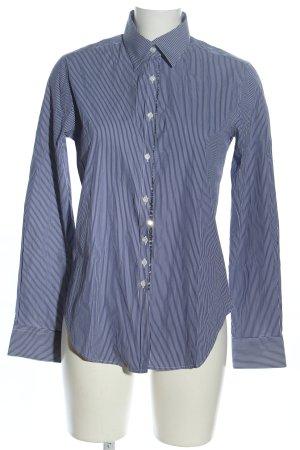 Aglini Camicetta a maniche lunghe blu-bianco motivo a righe stile professionale