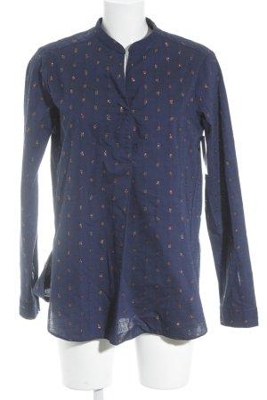 Aglini Blusa de manga larga azul-color rosa dorado estampado a lunares brillante