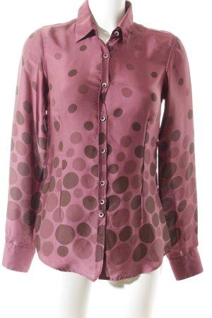 Aglini Langarm-Bluse braunviolett-violett Punktemuster Elegant