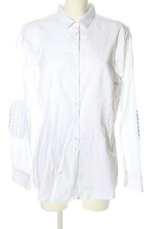Aglini Blusa de manga larga blanco estampado a cuadros estilo «business»