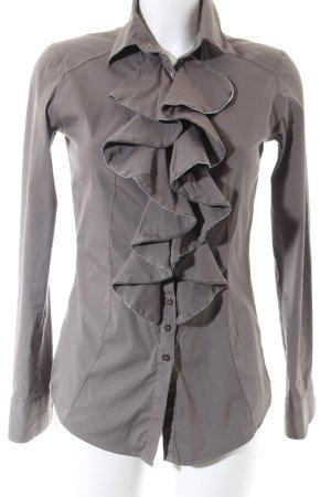 Aglini Blusa de manga larga marrón claro-color plata elegante