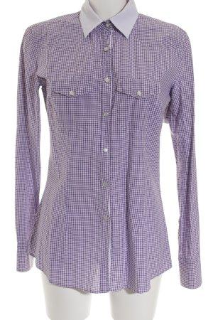 Aglini Blusa de manga larga lila-blanco estampado a cuadros estilo «business»