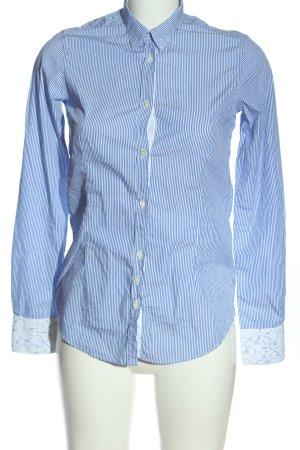 Aglini Camicia a maniche lunghe bianco-blu stampa integrale stile casual
