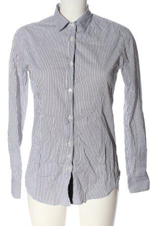 Aglini Camicia a maniche lunghe bianco-nero motivo a righe stile casual