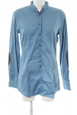 Aglini Camicia a maniche lunghe blu-marrone stile professionale