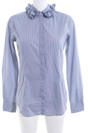 Aglini Camisa de manga larga azul-blanco Mezcla de patrones estilo «business»