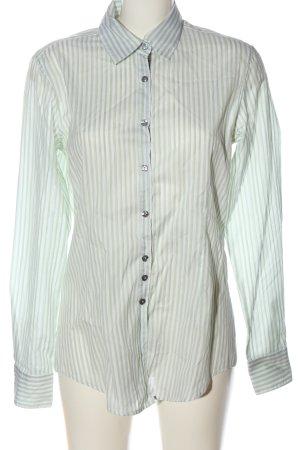 Aglini Camicia a maniche lunghe verde-bianco motivo a righe stile casual