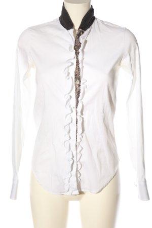Aglini Camicia a maniche lunghe bianco-nero stile casual