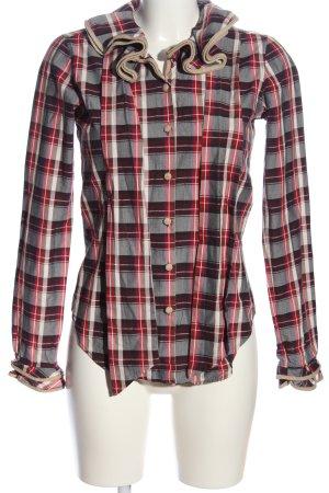 Aglini Shirt met lange mouwen rood-lichtgrijs geruite print casual uitstraling