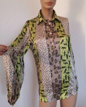 AGLINI Seidenbluse Bluse fließend Libellen grün/beige/braun Gr. 40 (ital. 44)