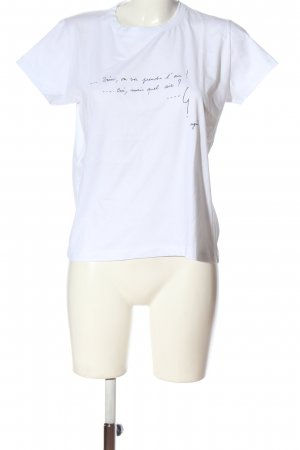 agnes b. Koszulka basic biały-czarny Wydrukowane logo W stylu casual