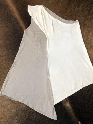 Agnona Camicia monospalla bianco sporco-marrone-grigio
