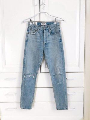 AGOLDE Hoge taille jeans azuur Katoen