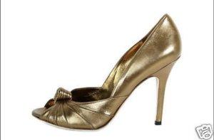 Aidini Gucci Style Peeptoes Pumps High Heels Echtleder Gold 38