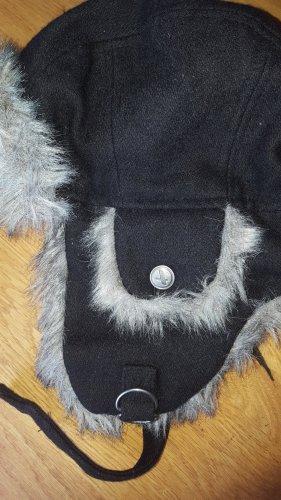 Aigle Chapeau d'aviateur noir laine