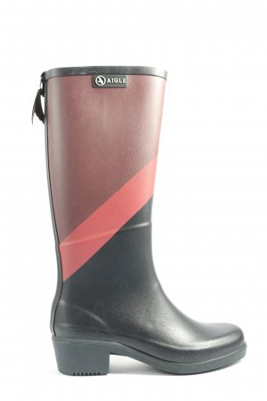 Aigle Wellies red-black casual look