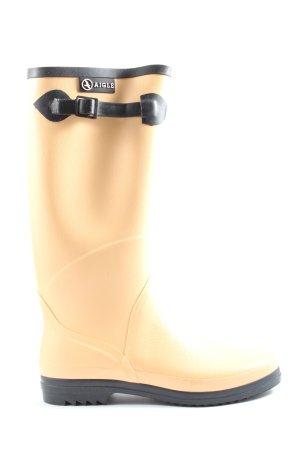 Aigle Gumowe buty w kolorze białej wełny-czarny W stylu casual