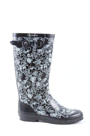Aigle Wellington laarzen zwart-wit volledige print casual uitstraling