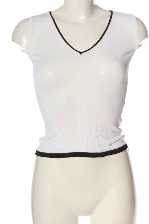 Aigner Sweter bez rękawów z cienkiej dzianiny biały-czarny W stylu casual