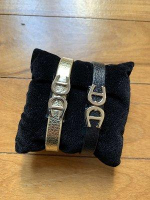 Aigner Armband Lederarmband gold und schwarz