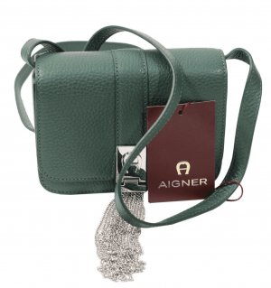 Aigner Clutch in Grün aus Leder