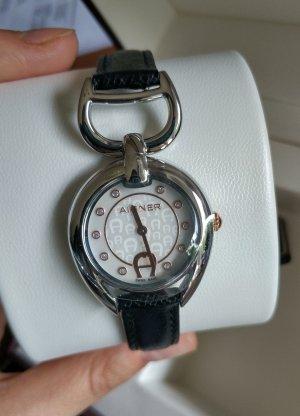 Aigner Reloj con pulsera de cuero multicolor