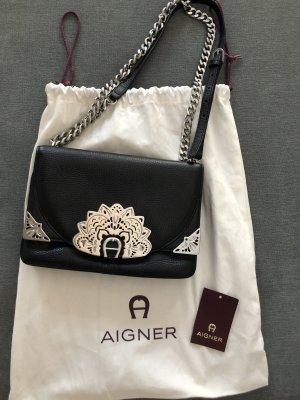 Aigner Crossbody bag black-silver-colored