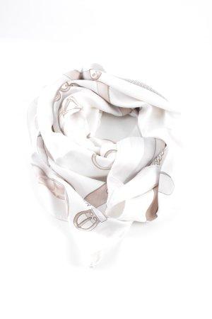 Aigner Foulard blanc-brun imprimé avec thème style décontracté