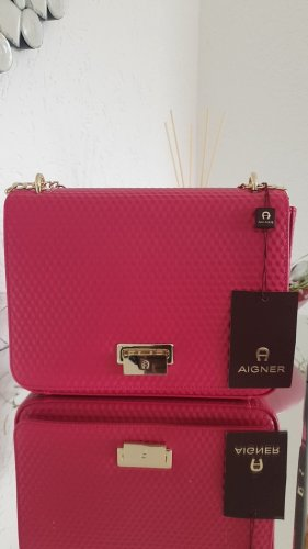 Aigner Clutch raspberry-red leather