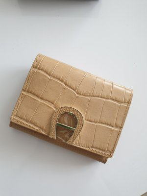 Aigner Card Case silver-colored-sand brown