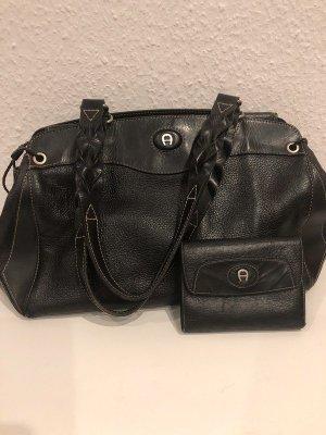 Aigner Étui pour téléphone portable noir-argenté cuir